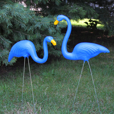 Set of 2 Blue Tropical Flamingo Outdoor Lawn Stakes 30""
