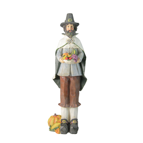 "13.75"" Autumn Harvest Wood Carved Thanksgiving Pilgrim Man Decorative Figure"
