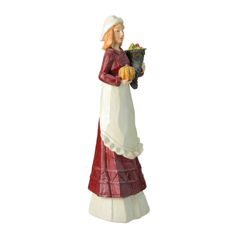 "13"" Autumn Harvest Wood Carved Thanksgiving Pilgrim Woman Decorative Figure"