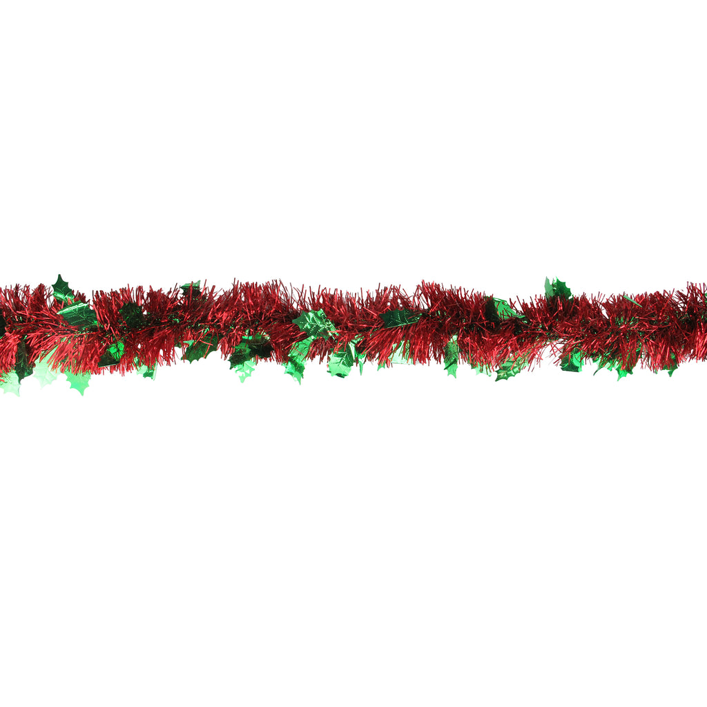 Christmas Tinsel Garland.12 Shiny Red Christmas Tinsel Garland With Green Holly Leaves Unlit