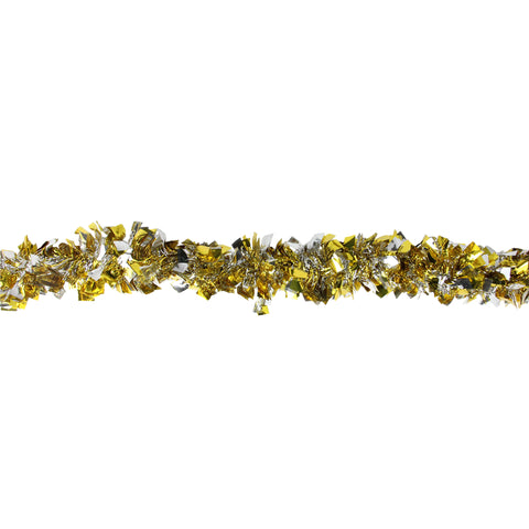 12' Gold and Silver Boa Wide Cut Christmas Tinsel Garland - Unlit