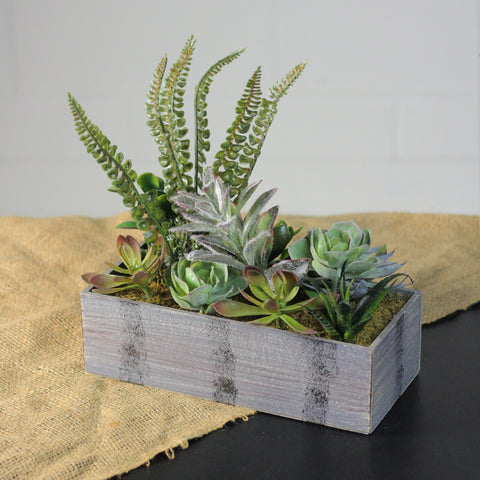 "11.75"" Artificial Mixed Succulent Plants in a Rectangular Planter"