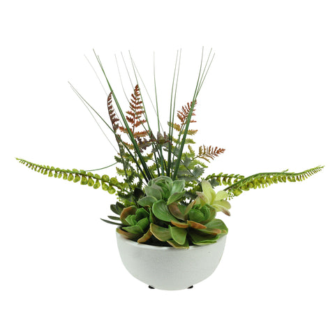 "11.5"" Potted Green Artificial Mixed Succulent Fern Plant"