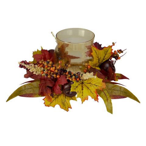 "15"" Fall Apple and Berry Glass Hurricane Pillar Candle Holder Centerpiece"