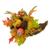 "18"" Orange Gourds and Maple Leaves Cornucopia Thanksgiving Tabletop Decor"
