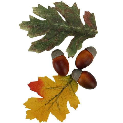 10-Piece Autumn Harvest Artificial Acorn and Leaf Thanksgiving Decoration Set