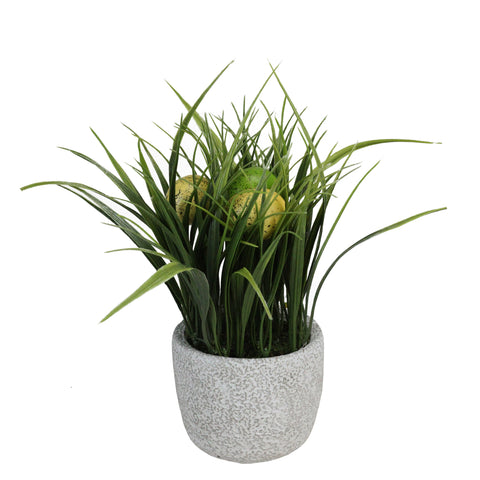 "10"" Green and Yellow Potted Artificial Grass and Eggs Easter Decoration"