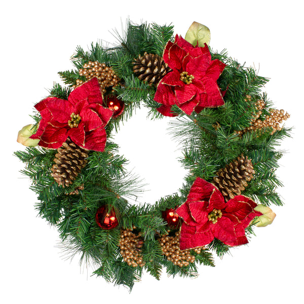 Green Pine and Poinsettias Artificial Christmas Wreath - 24-Inch, Unlit