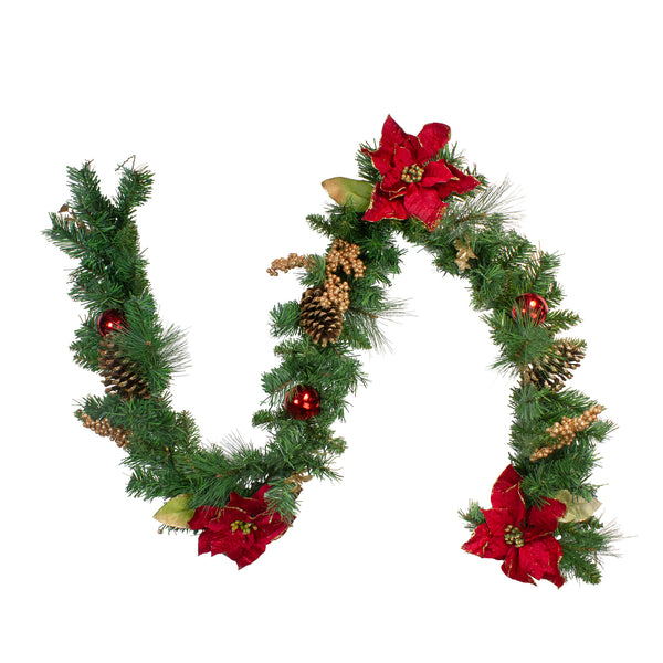 "6' x 10"" Pine and Poinsettias Artificial Christmas Garland - Unlit"