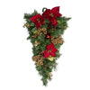 "32"" Pine and Poinsettias Artificial Christmas Teardrop Swag - Unlit"