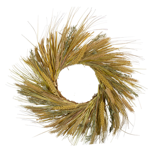 Wheat and Straw Stalks Artificial Wreath, Brown 22-Inch