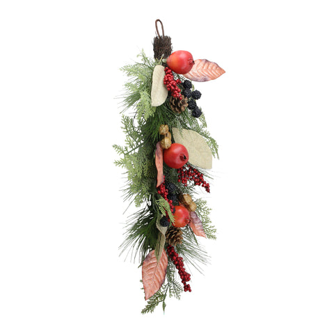 "30"" Autumn Harvest Mixed Berry and Pine Needle Artificial Teardrop Swag - Unlit"