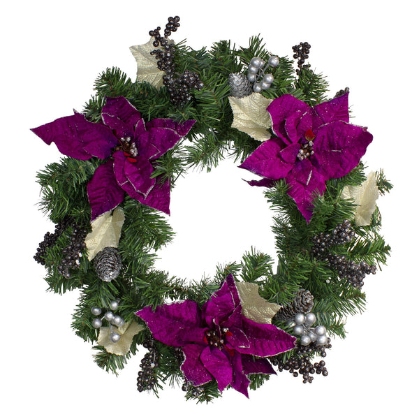 Purple Poinsettia and Silver Pine Cone Artificial Christmas Wreath - 24-Inch, Unlit