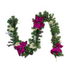 "6' x 10"" Poinsettia and Pine Cone Artificial Christmas Garland - Unlit"