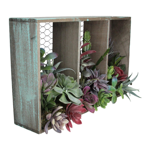 "10"" Artificial Mixed Succulent Arrangement in Wood Box and Chicken Wire Wall Decor"