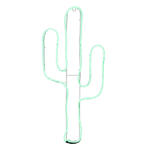 "24.5"" Neon Style LED Lighted Green Cactus Window Silhouette Decoration"