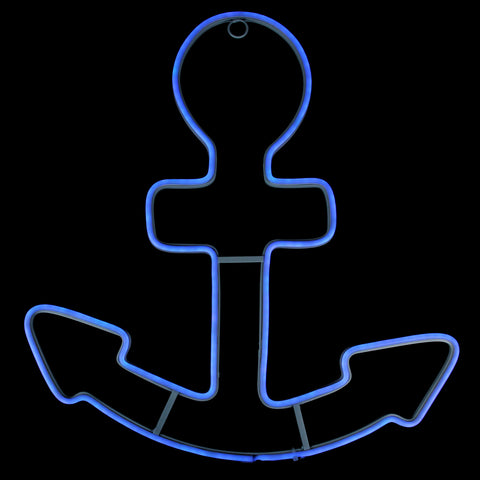 "17"" Neon Blue LED Lighted Anchor Window Silhouette Decor"