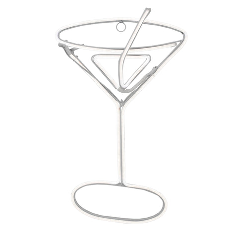 "17.25"" Neon Style LED Lighted Martini Glass Window Silhouette Decoration"