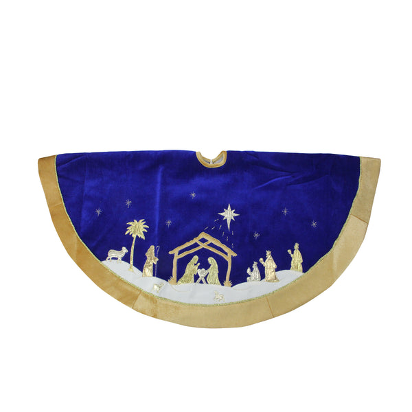 "48"" Blue and Gold Nativity Scene Christmas Tree Skirt with Gold Border"