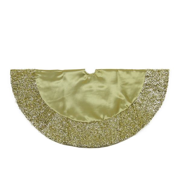 "20"" Gold Mini Christmas Tree Skirt with Metallic Tinsel Trim"