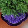 "48"" Purple and Silver Glittered Floral Christmas Tree Skirt"