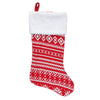 "22"" Red and White Rustic Lodge Knit Christmas Stocking with Cuff"