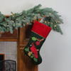"20"" Red and Green Velveteen Cardinal Embroidered Christmas Stocking"