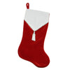 "21.5"" Traditional Red and White Velveteen Christmas Stocking with Beaded Tassel"