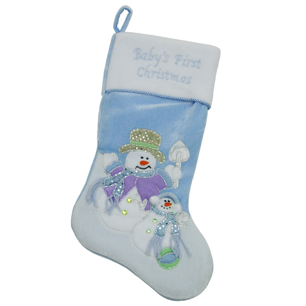 "21"" Blue and White 'Baby's First Christmas' Snowman Christmas Stocking"