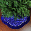"48"" Royal Blue and Silver Swirl Christmas Tree Skirt with Scalloped Trim"
