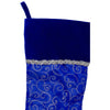 "20.5"" Royal Blue and Silver Swirl Christmas Stocking with Velveteen Cuff"