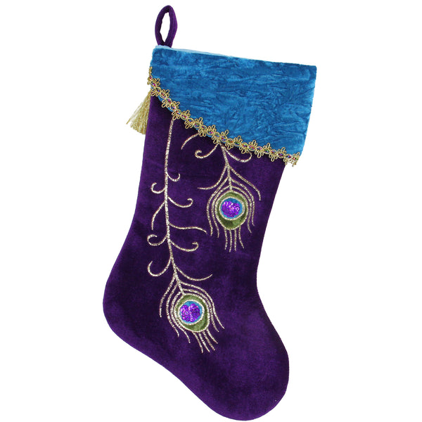 "19"" Purple Velvet Regal Peacock Embroidered Feather Christmas Stocking with Gold Tassel"