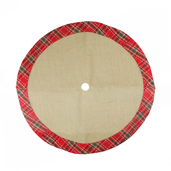 "20"" Rustic Burlap Mini Christmas Tree Skirt with Red Plaid Border"
