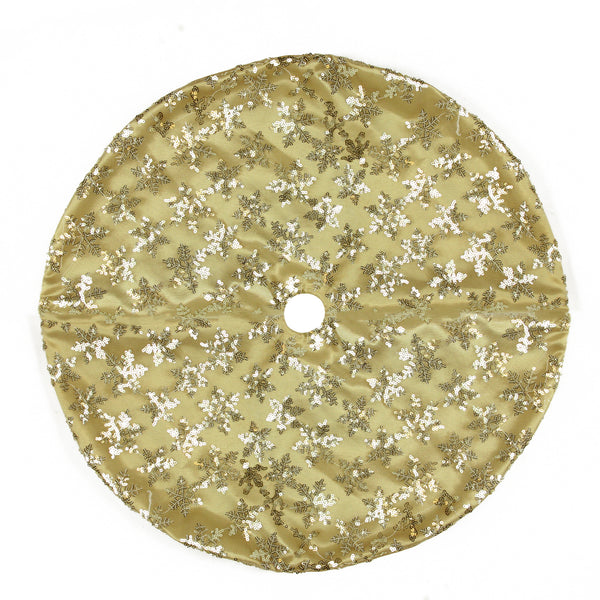 "20"" Gold Sequin Snowflake Pattern Mini Christmas Tree Skirt"
