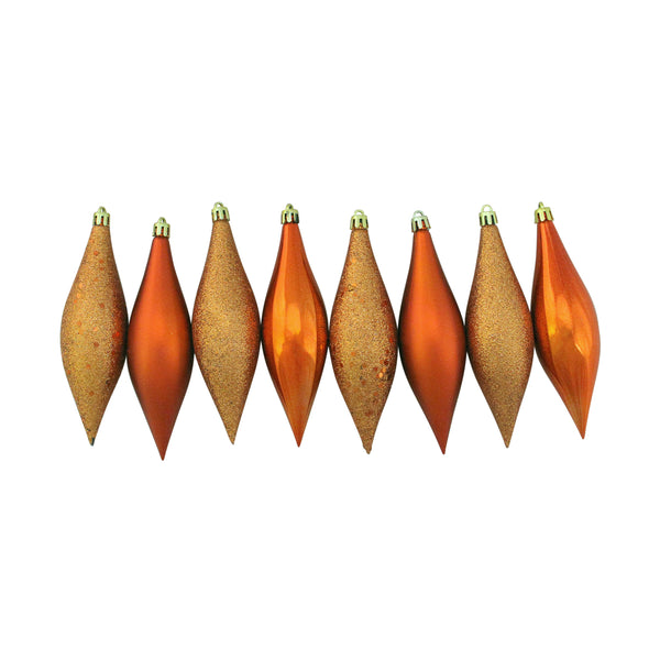 8ct Burnt Orange Shatterproof Finial Drop Christmas Ornaments 5.5""