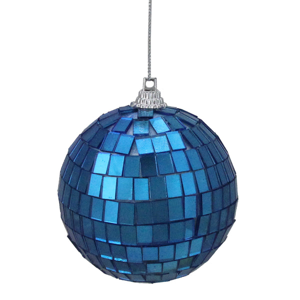 "6ct Lavish Blue Mirrored Glass Disco Ball Christmas Ornaments 2.75"" (70mm)"