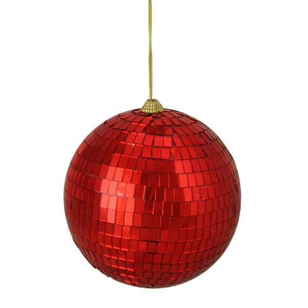 "Red Disco Shatterproof Mirrored Christmas Ball Ornament 5.5"" (140mm)"