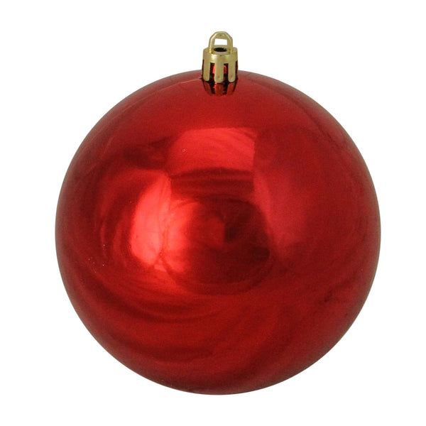 "Shiny Red Shatterproof Christmas Ball Ornament 4"" (100mm)"