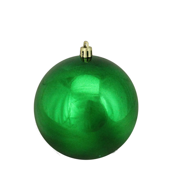"Green Shatterproof Shiny Christmas Ball Ornament 4"" (100mm)"