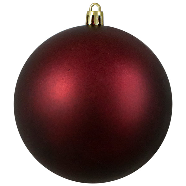 "Matte Burgundy Shatterproof Christmas Ball Ornament 4"" (100mm)"