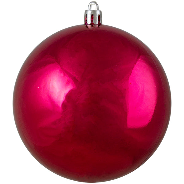 "Shiny Pink Shatterproof UV Resistant Commercial Christmas Ball Ornament 4"" (100mm)"