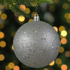 "Holographic Glitter Silver Shatterproof Christmas Ball Ornament 4"" (100mm)"