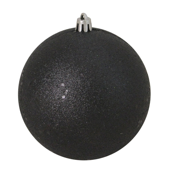 "Holographic Glitter Jet Black Shatterproof Christmas Ball Ornament 4"" (100mm)"