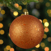 "Holographic Glitter Burnt Orange Shatterproof Christmas Ball Ornament 4"" (100mm)"