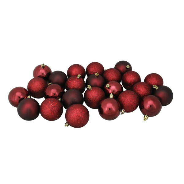 "24ct Burgundy Red Shatterproof 4-Finish Christmas Ball Ornaments 2.5"" (60mm)"