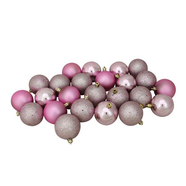 "24ct Pink Shatterproof 4-Finish Christmas Ball Ornaments 2.5"" (60mm)"