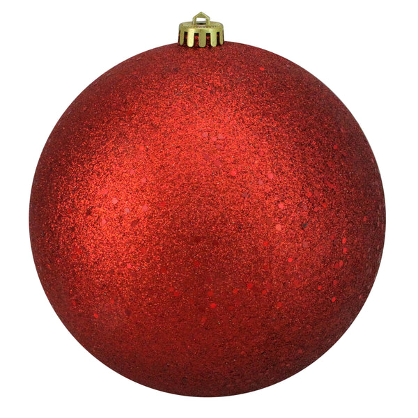 "Holographic Glitter Red Shatterproof Christmas Ball Ornament 8"" (200mm)"