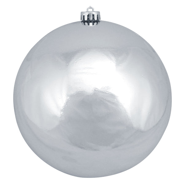 "Shiny Silver Shatterproof Christmas Ball Ornament 8"" (200mm)"