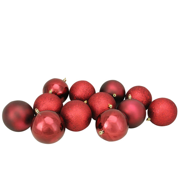 "12ct Burgundy Shatterproof 4-Finish Christmas Ball Ornaments 3.25"" (80mm)"