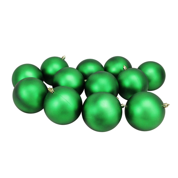 "12ct Matte Green Shatterproof UV-Resistant Christmas Ball Ornaments 4"" (100mm)"